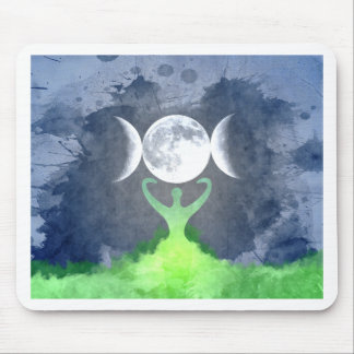 Wiccan Mother Earth Goddess Moon Mouse Pad