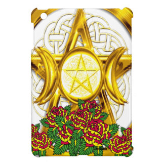 Wiccan Pagan Pentacle Gold With Roses Cover For The iPad Mini