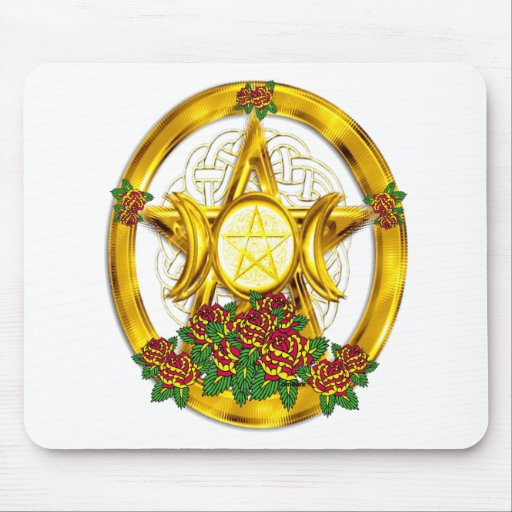 Wiccan Pagan Pentacle Gold With Roses Mouse Pad