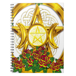 Wiccan Pagan Pentacle Gold With Roses Spiral Note Book
