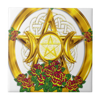 Wiccan Pagan Pentacle Gold With Roses Tile