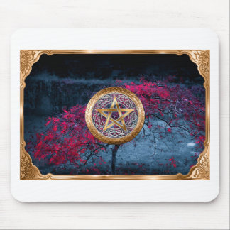Wiccan Pagan Pentagram Alter Cloth Mouse Pad