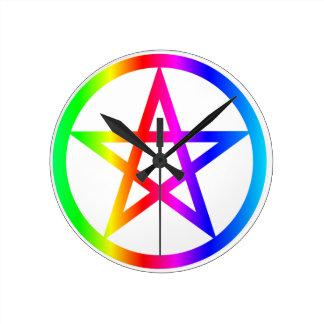 Wiccan (Pentacle) Symbol Round Clock
