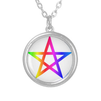 Wiccan (Pentacle) Symbol Round Pendant Necklace