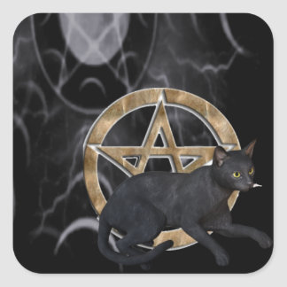 Wiccan pentacle with black cat square sticker