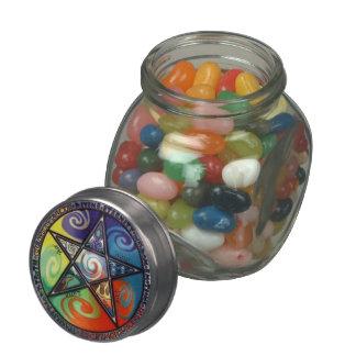 Wiccan Pentagram Mini Glass Jar
