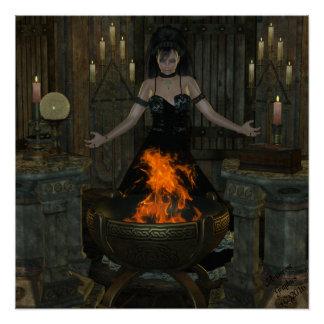 Wiccan Priestess Spells Poster
