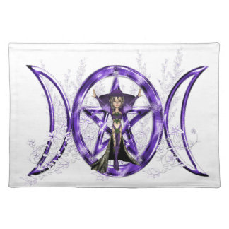 Wiccan Purple Triple Moon Goddess Pentacle Placemat