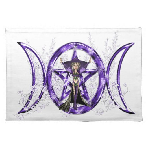 Wiccan Purple Triple Moon Goddess Pentacle Placemats Zazzle