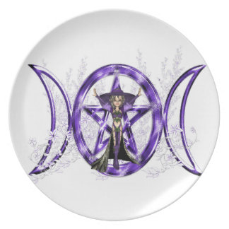 Wiccan Purple Triple Moon Goddess Pentacle Party Plate
