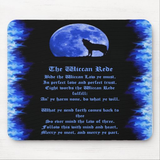 Wiccan Rede - Blue Flame Mouse Pads