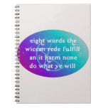 Wiccan rede notepad note book