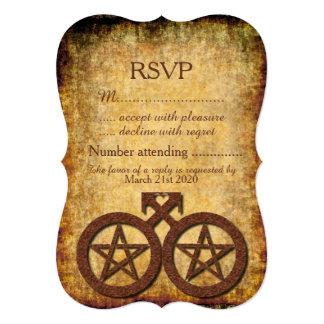 """Wiccan RSVP rústico para un Handfasting gay Invitación 5"""" X 7"""""""