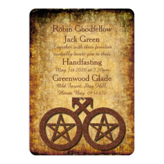 Wiccan Rustic Gay Handfasting Invitation Pentacles