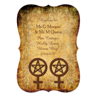 Wiccan Rustic RSVP for a Lesbian Handfasting Card