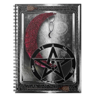 Wiccan Silver Crescent Moon & Pentacle Spiral Notebook