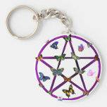 Wiccan Star and Butterflies Basic Round Button Keychain