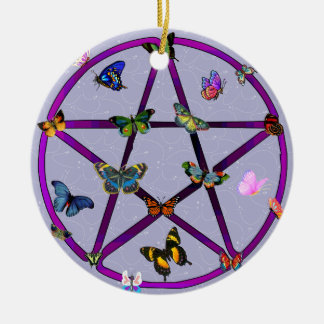 Wiccan Star and Butterflies Ceramic Ornament
