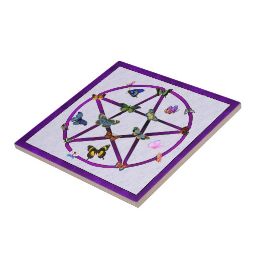 Wiccan Star and Butterflies Ceramic Tile