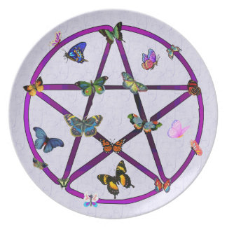 Wiccan Star and Butterflies Dinner Plate