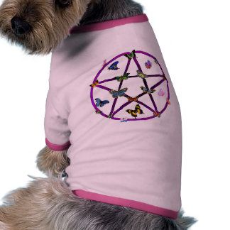 Wiccan Star and Butterflies Pet Tshirt