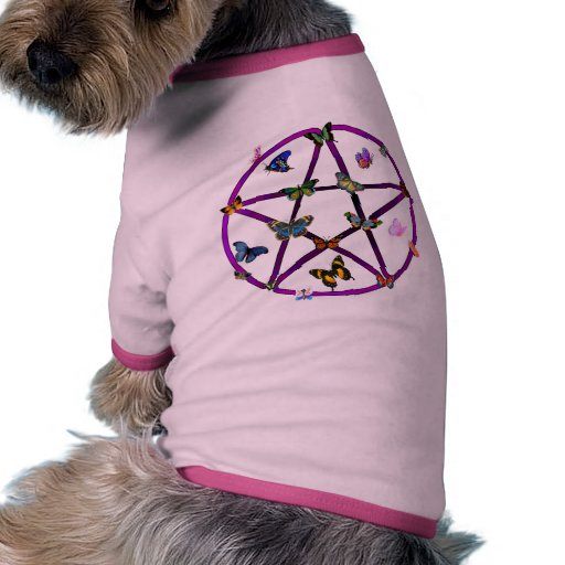 Wiccan Star and Butterflies Doggie Tee Shirt