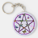 Wiccan Star and Butterflies Keychain