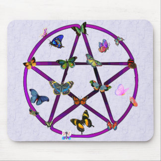 Wiccan Star and Butterflies Mouse Pad