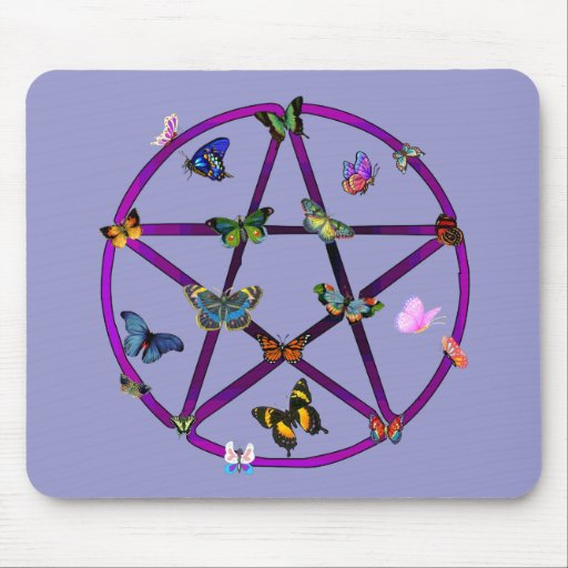 Wiccan Star and Butterflies Mouse Mats