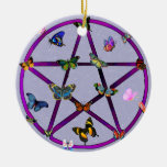 Wiccan Star and Butterflies Christmas Tree Ornaments