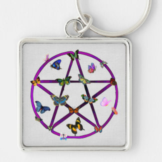 Wiccan Star and Butterflies Silver-Colored Square Keychain