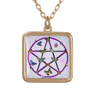 Wiccan Star and Butterflies Square Pendant Necklace