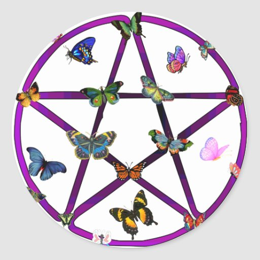 Wiccan Star and Butterflies Round Stickers