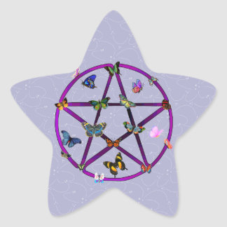 Wiccan Star and Butterflies Star Sticker