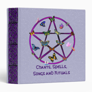 Wiccan Star and Butterflies Vinyl Binders