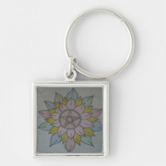 Wiccan Star Silver-Colored Square Keychain