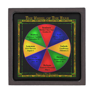 Wiccan Wheel of The Year Tiled Box Premium Keepsake Box
