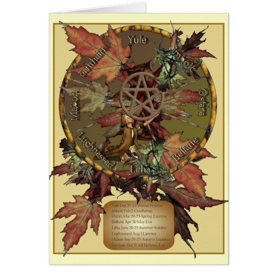 Wiccan Wheel With Pentacle Greetings or Note Cards