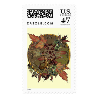 Wiccan Wheel With Pentacle Postage Stamp