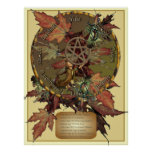 Wiccan Wheel With Pentacle Print