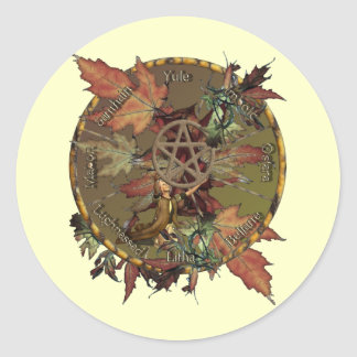 Wiccan Wheel With Pentacle Stickers