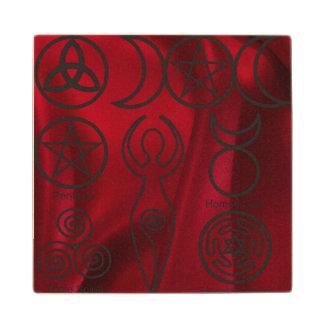Wiccan, wicca, pagan, triquetra, pentáculo, triple posavasos de madera
