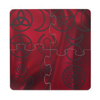 Wiccan, wicca, pagan, triquetra, pentáculo, triple posavasos de puzzle