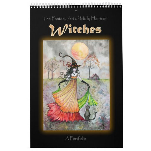 Wiccan Witch Portfolio Book by Molly Harrison Wall Calendar