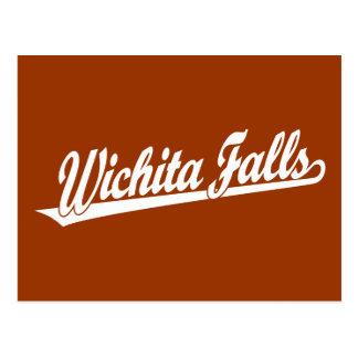 Wichita cae logotipo de la escritura en blanco tarjetas postales