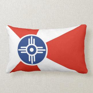 Wichita city flag  Kansas state America country Throw Pillow