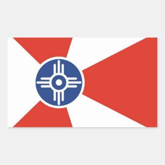 Wichita city flag  Kansas state America country Rectangular Sticker