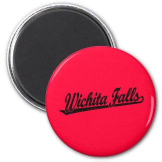 Wichita Falls script logo in black distressed 2 Inch Round Magnet