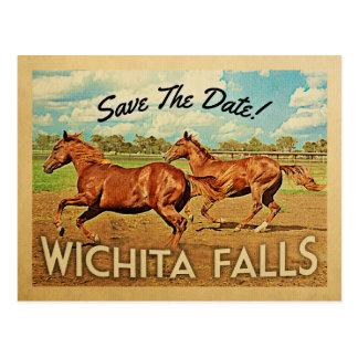 Wichita Falls Texas Save The Date Horses Postcard