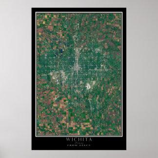 Wichita Kansas From Space Satellite Art Poster